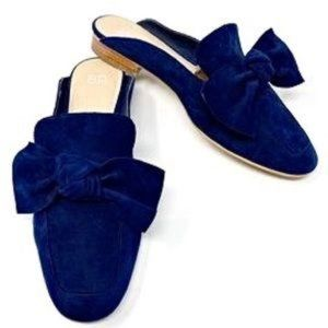 Blue BP Suede Bow Mules